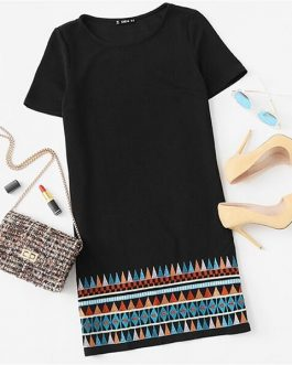 Embroidered Short Sleeve Boho T-shirt Casual Ladies Dresses