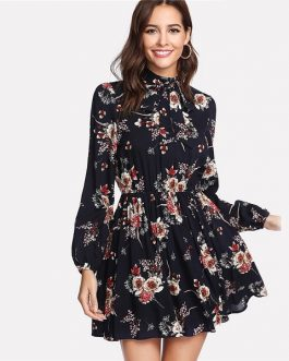Floral Multicolor Elegant  Ladies Tie Neck Dress
