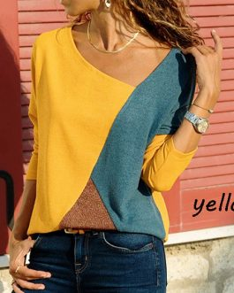 Asymmetrical Collar Long Sleeve Blouse