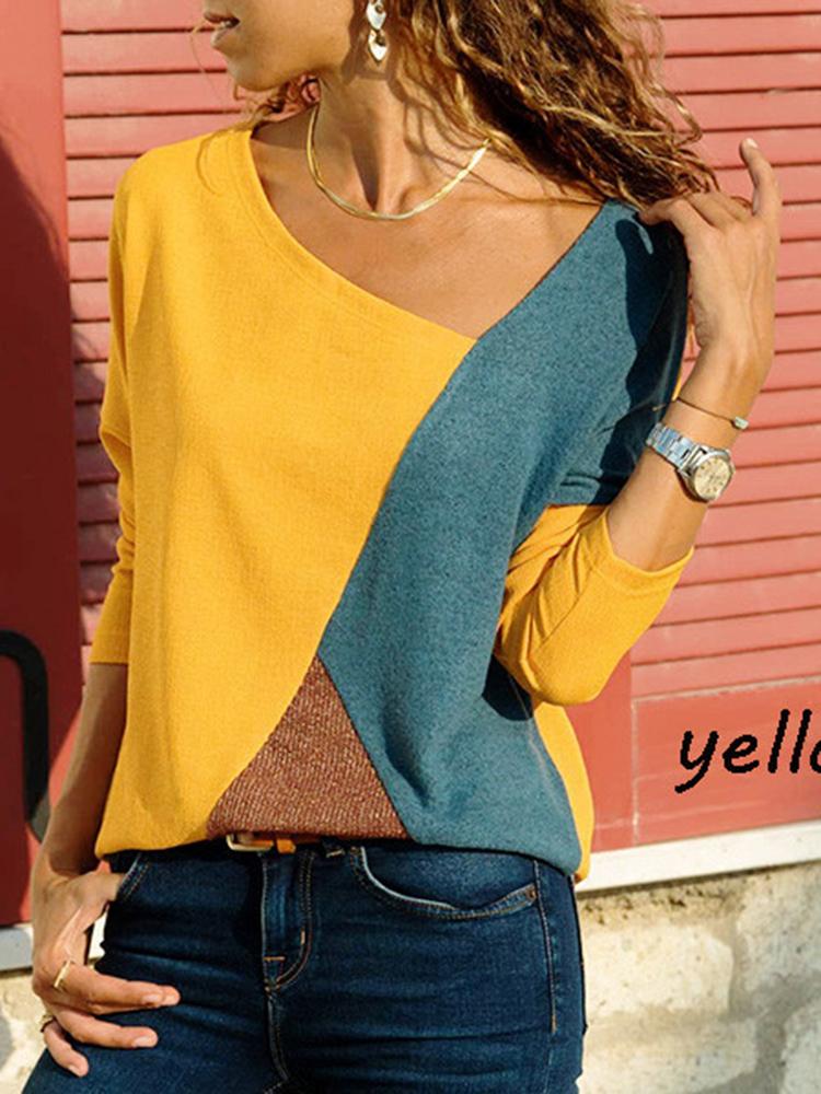 Asymmetrical Collar Long Sleeve Blouse