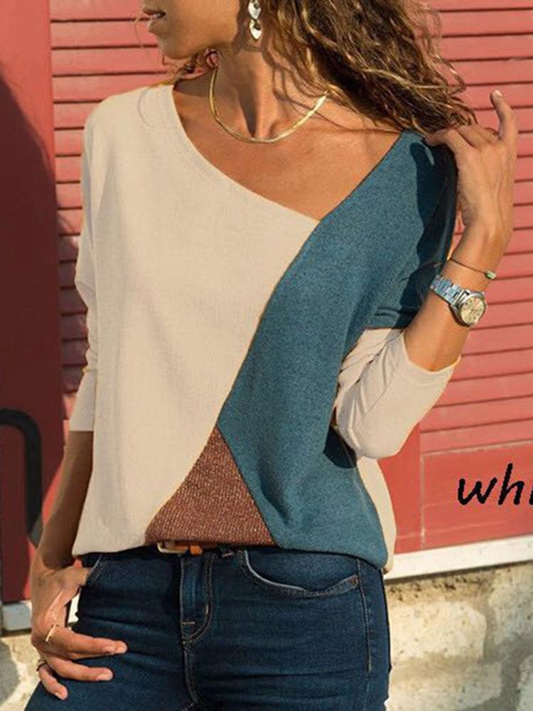 Asymmetrical Collar Long Sleeve Blouse1