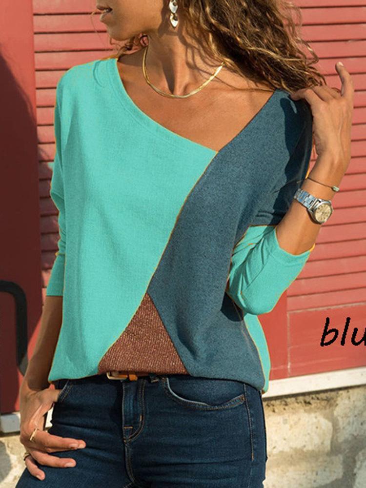 Asymmetrical Collar Long Sleeve Blouse2