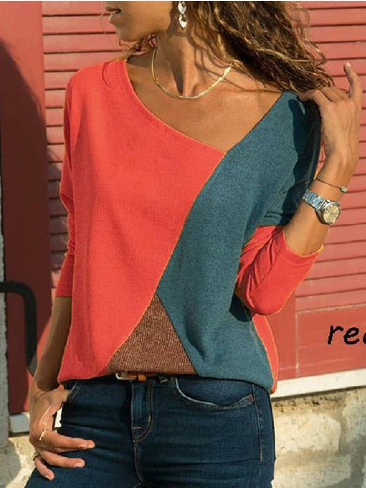 Asymmetrical Collar Long Sleeve Blouse3