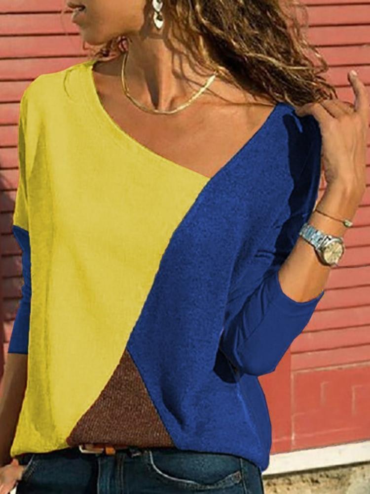 Asymmetrical Collar Long Sleeve Blouse4