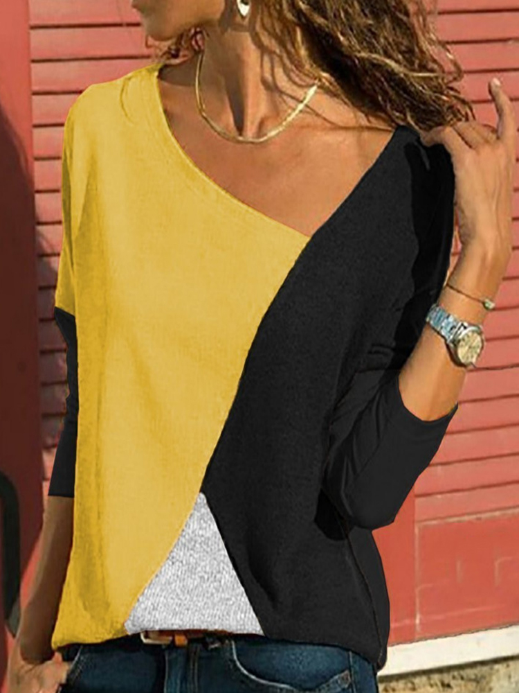 Asymmetrical Collar Long Sleeve Blouse5