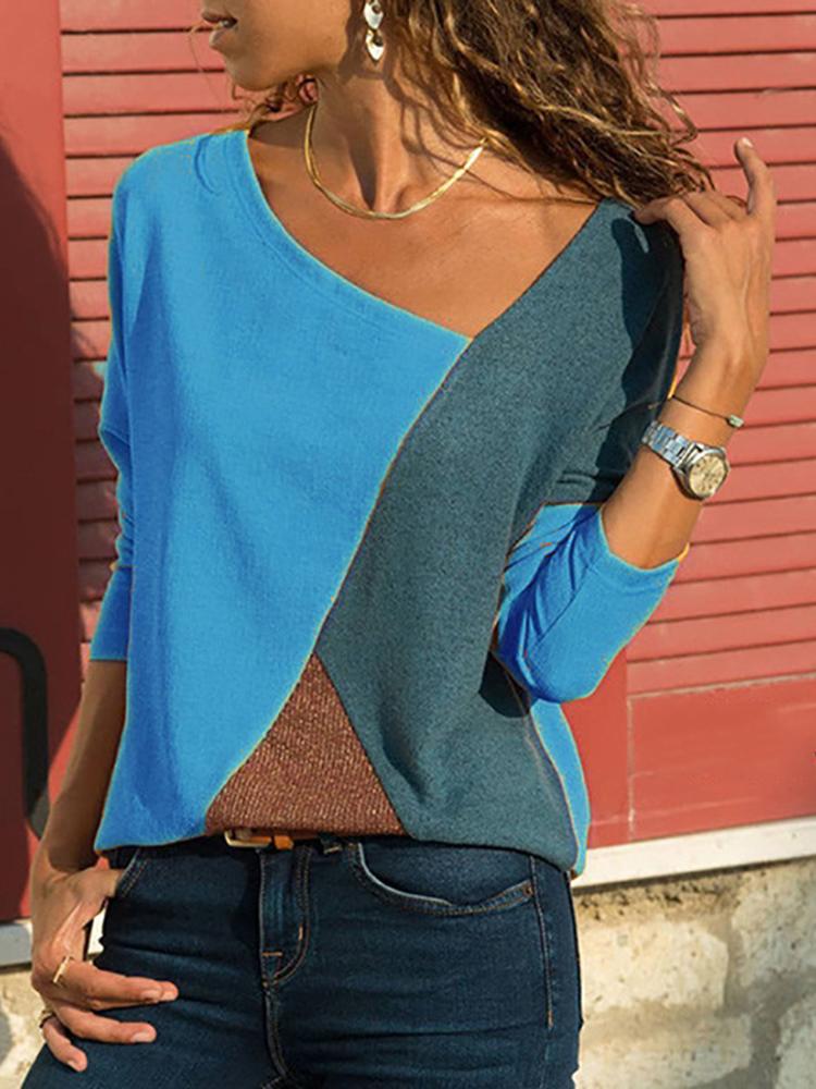 Asymmetrical Collar Long Sleeve Blouse7