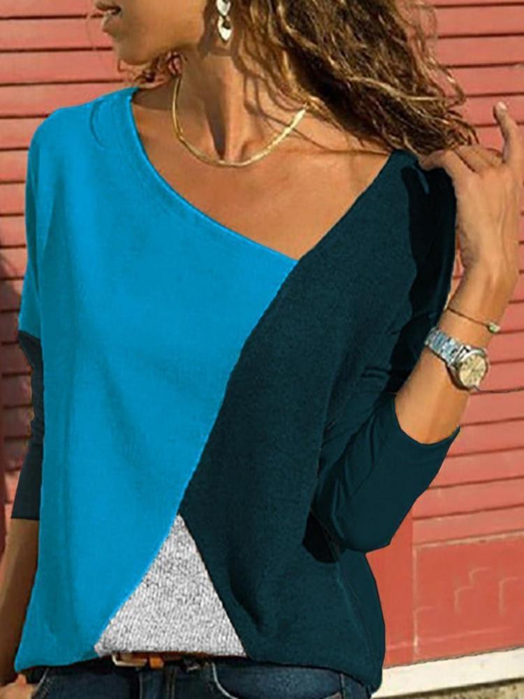 Asymmetrical Collar Long Sleeve Blouse8