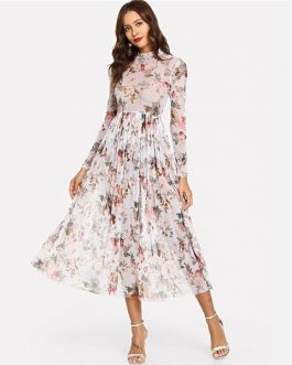 Party Elegant Mock Neck Semi Sheer Pleated Floral A Line Dress