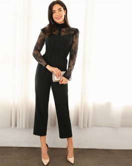 Black Lace Spring Casual  Women Jumpsuits