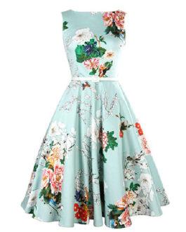 Blue Floral Print Flare Vintage Dress