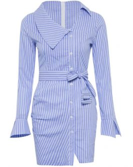 Blue Shirt Dress Striped Bodycon Casual Dress