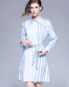 Blue Shirt Dress Turndown Collar Long Sleeve Striped Midi Dress