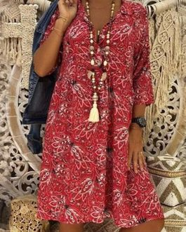 Bohemia Print V-Neck 3/4 Sleeve Dress