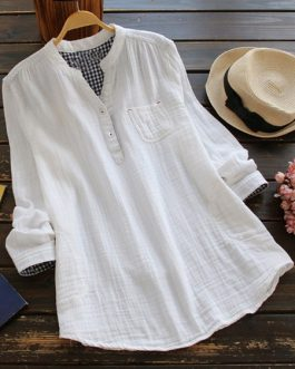 Button Pocket V-Neck Cotton Shirts