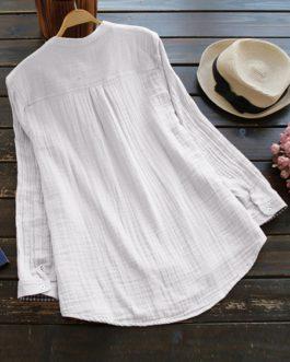 Button Pocket V-Neck Cotton Shirts