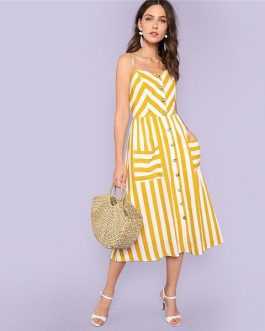Striped Summer Vacation Beach Pockets Front Cami Dress