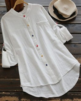 Buttons Down Cotton Asymmetric Blouse