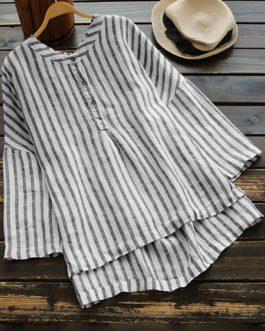 Buttons Striped Irregular Blouse