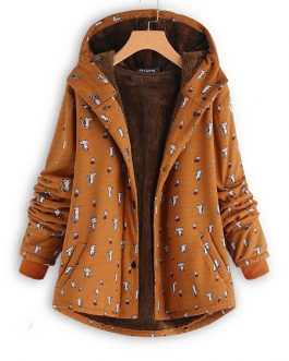 Cartoon Cat Print Hooded Coat
