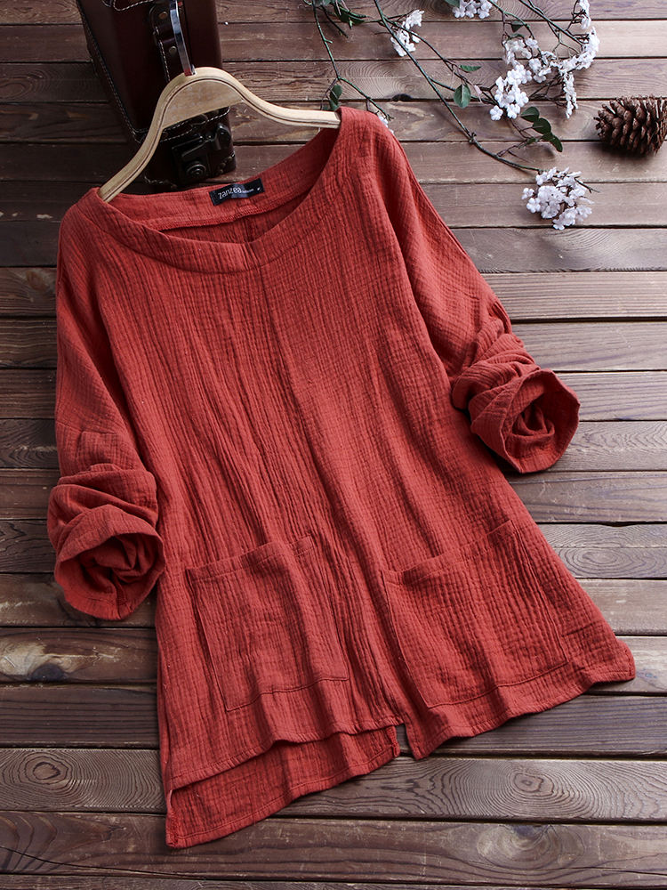 Casual Loose Pockets Vintage Blouse