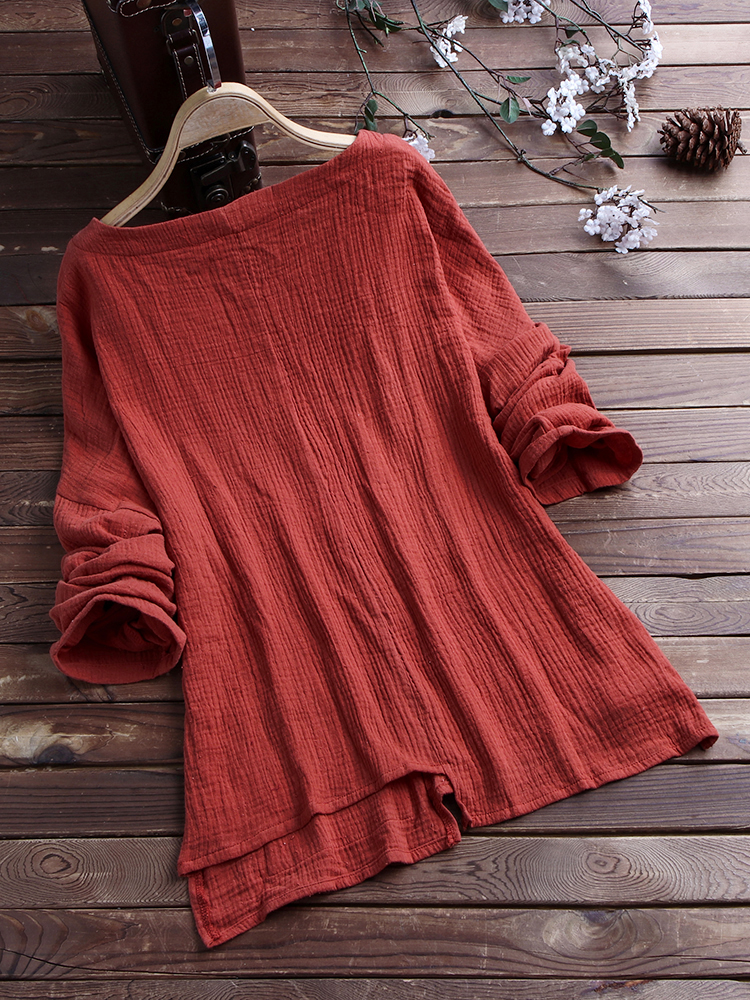 Casual Loose Pockets Vintage Blouse1
