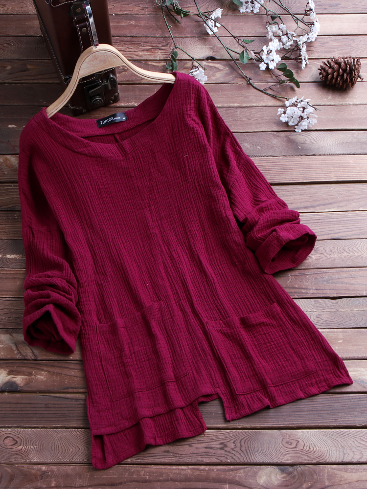 Casual Loose Pockets Vintage Blouse2