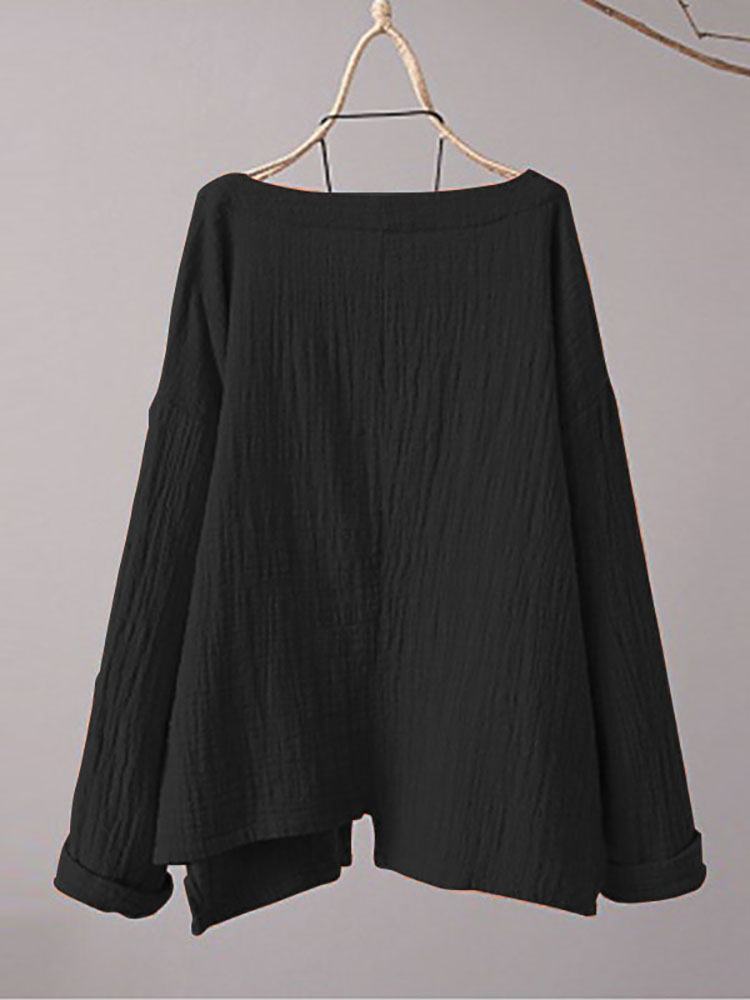 Casual Loose Pockets Vintage Blouse5