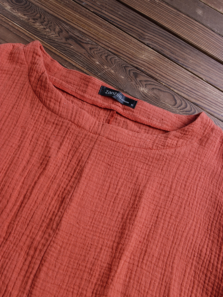 Casual Loose Pockets Vintage Blouse6