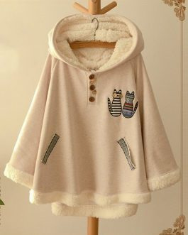 Cat Embroidery Hooded Fleece Coat