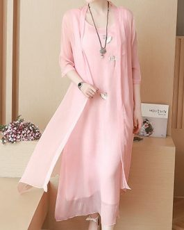 Chinese Style Embroidery O-neck Mid-long Dress with Cloak
