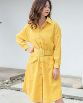 Corduroy Shirt Dress Turndown Collar Long Sleeve Pockets Midi Dress