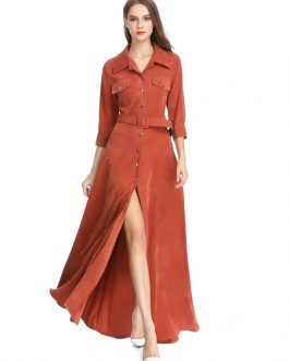 Corduroy Shirt Dress Turndown Collar Split Maxi Dress