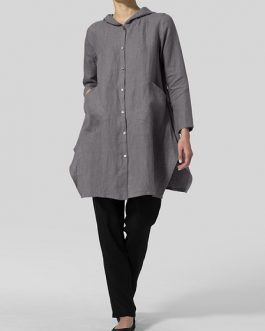 Cotton Button Hoodie Long Sleeve Tops