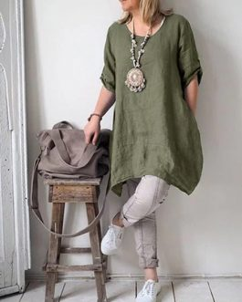 Cotton Linen Half Sleeve Shirt Dress