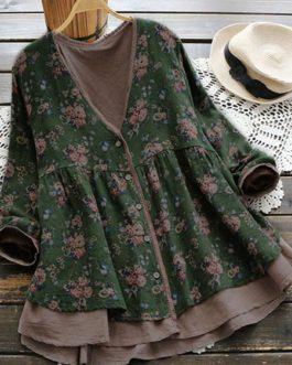 Cotton Linen Loose Button Blouse
