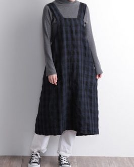 Cotton Linen Plaid Cross Back Apron Dress