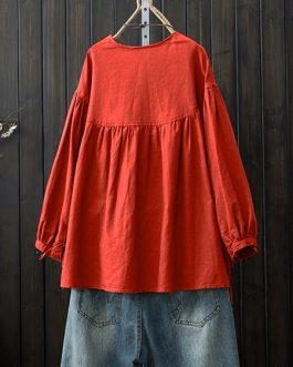 Crew Neck Button Down Cotton Blouse