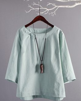 Crew Neck Buttons Retro Cotton Blouse