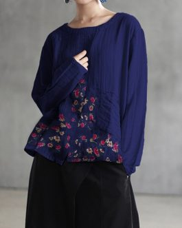 Crew Neck Long Sleeve Cotton Blouse