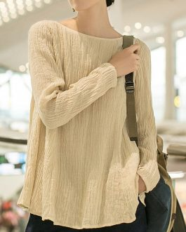 Crew Neck Long Sleeve Solid Blouse