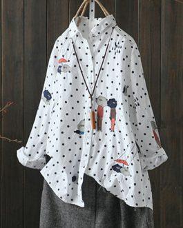 Dot Lapel Long Sleeve Shirt Blouse