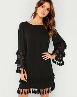 Elegant Fringe Cut Out Straight Short Dresses
