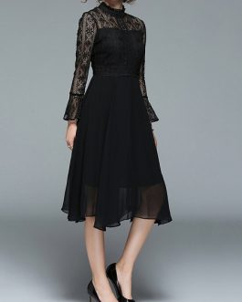 Elegant Lace Patchwork Bell Vintage Dress