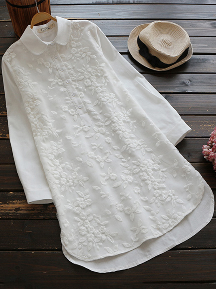 Embroidery Lapel 3 4 Sleeve Blouse