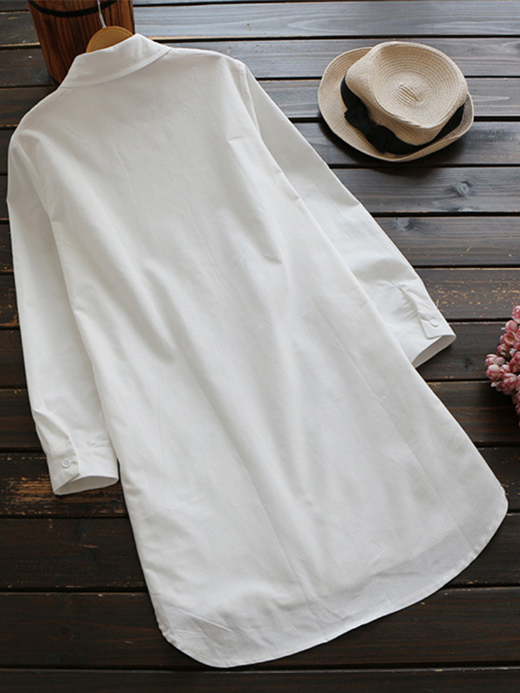 Embroidery Lapel 3 4 Sleeve Blouse1