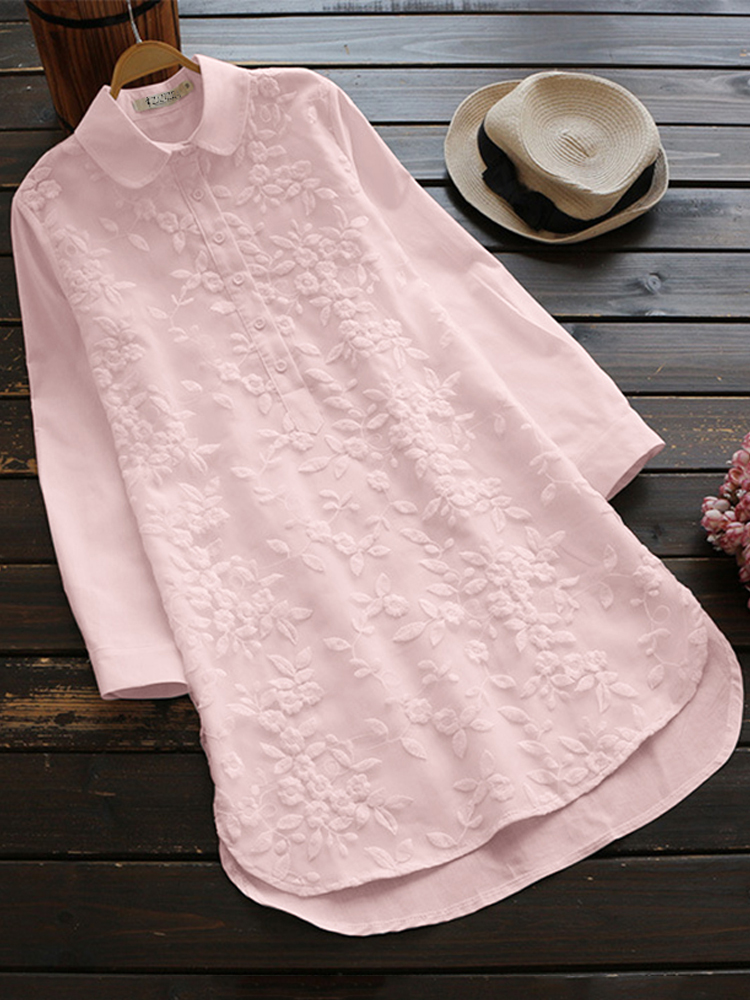 Embroidery Lapel 3 4 Sleeve Blouse2