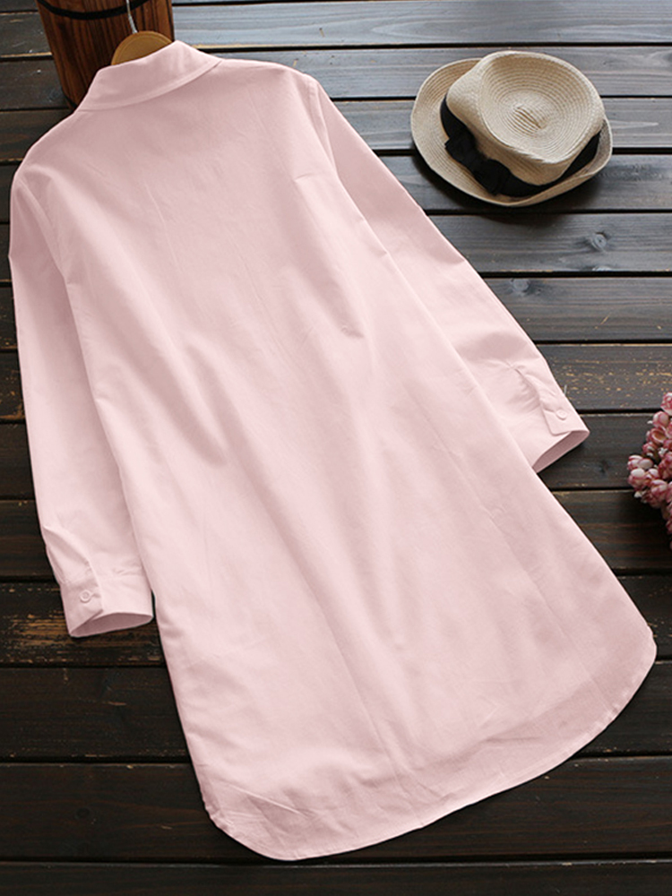 Embroidery Lapel 3 4 Sleeve Blouse3