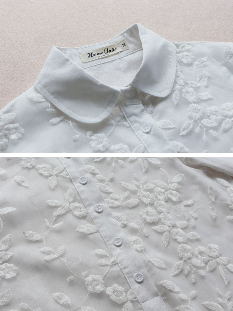 Embroidery Lapel 3 4 Sleeve Blouse4