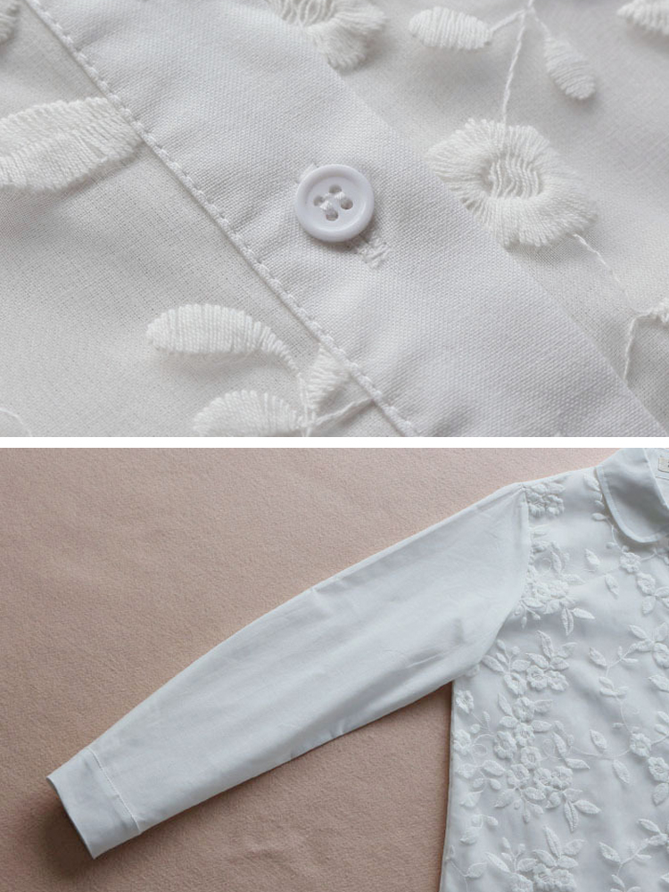 Embroidery Lapel 3 4 Sleeve Blouse5
