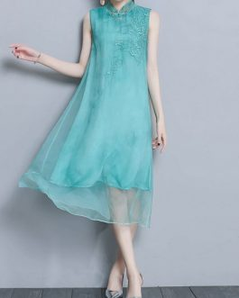 Embroidery Sleeveless Stand Collar Vintage Dress